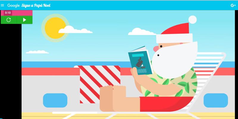 Papa Noel y la playa en Google Maps