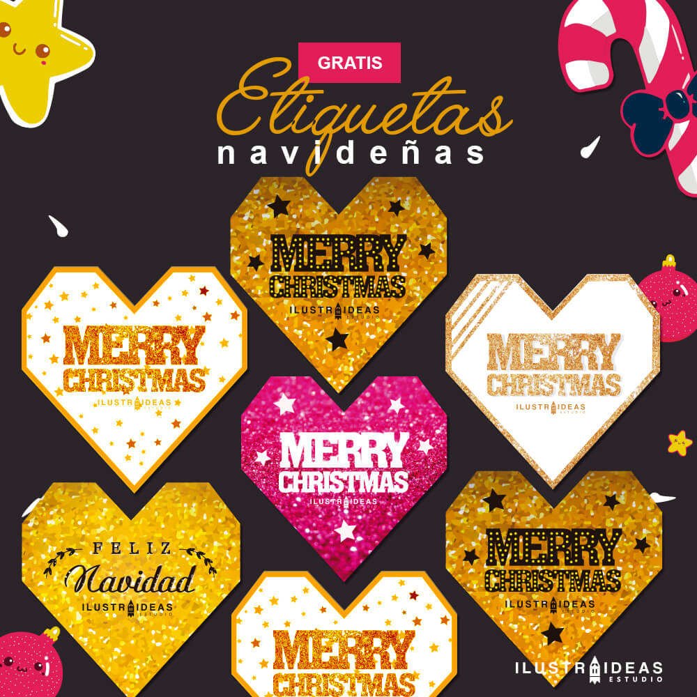 Etiquetas navideñas glitter