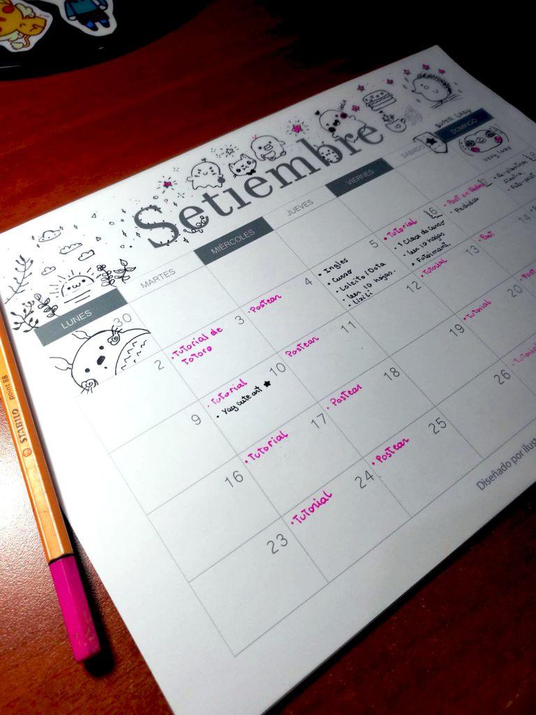 Calendario organizador 2019