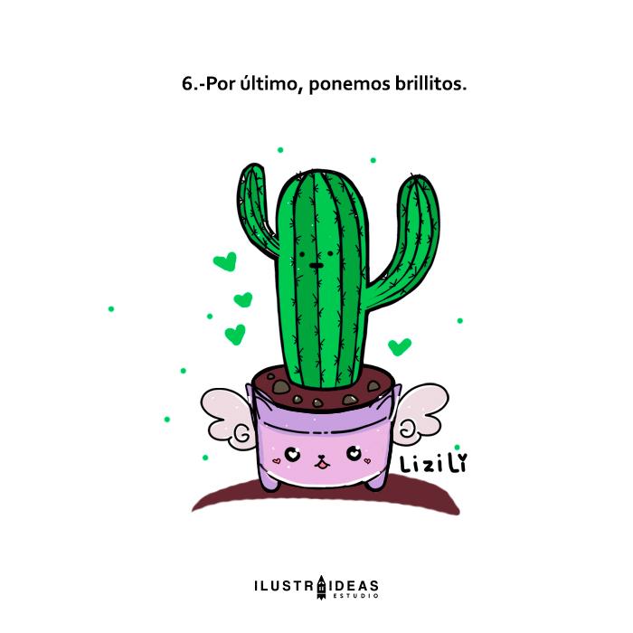 Aprende conmigo y dibuja un cactus kawaii paso a paso