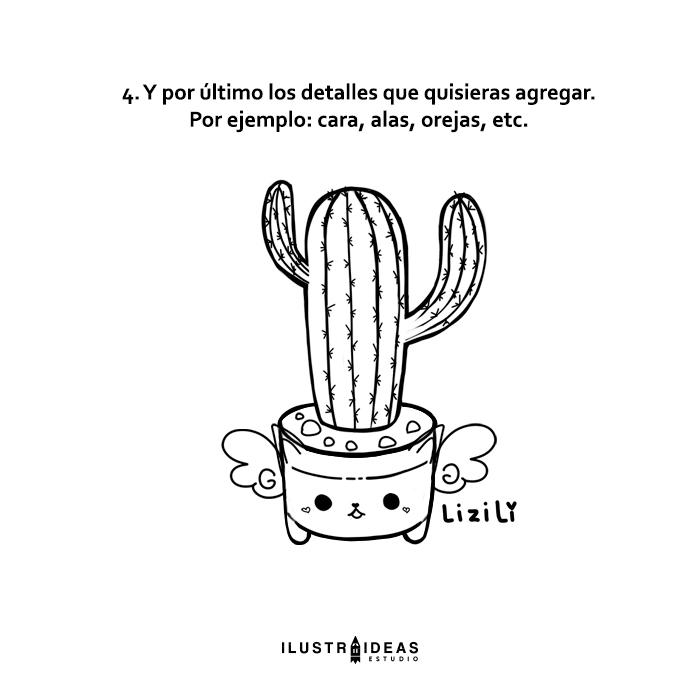 Dibuja un cactus kawaii paso a paso