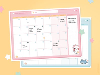 Planners mensuales para imprimir gratis sin fechas de Haru y Fuyu